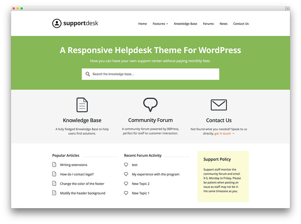 support desk user friendly wordpress theme