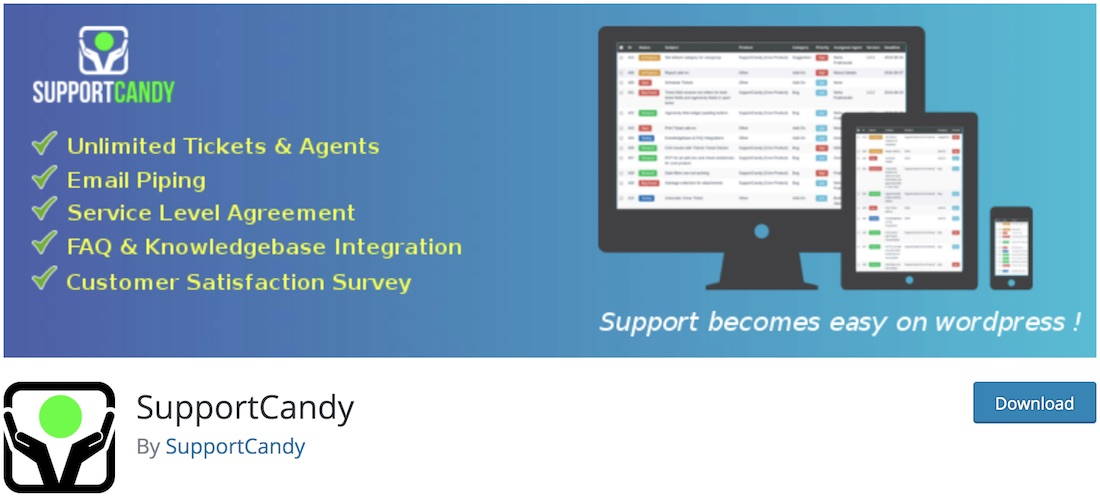 supportcandy customer service support plugin for wordpress