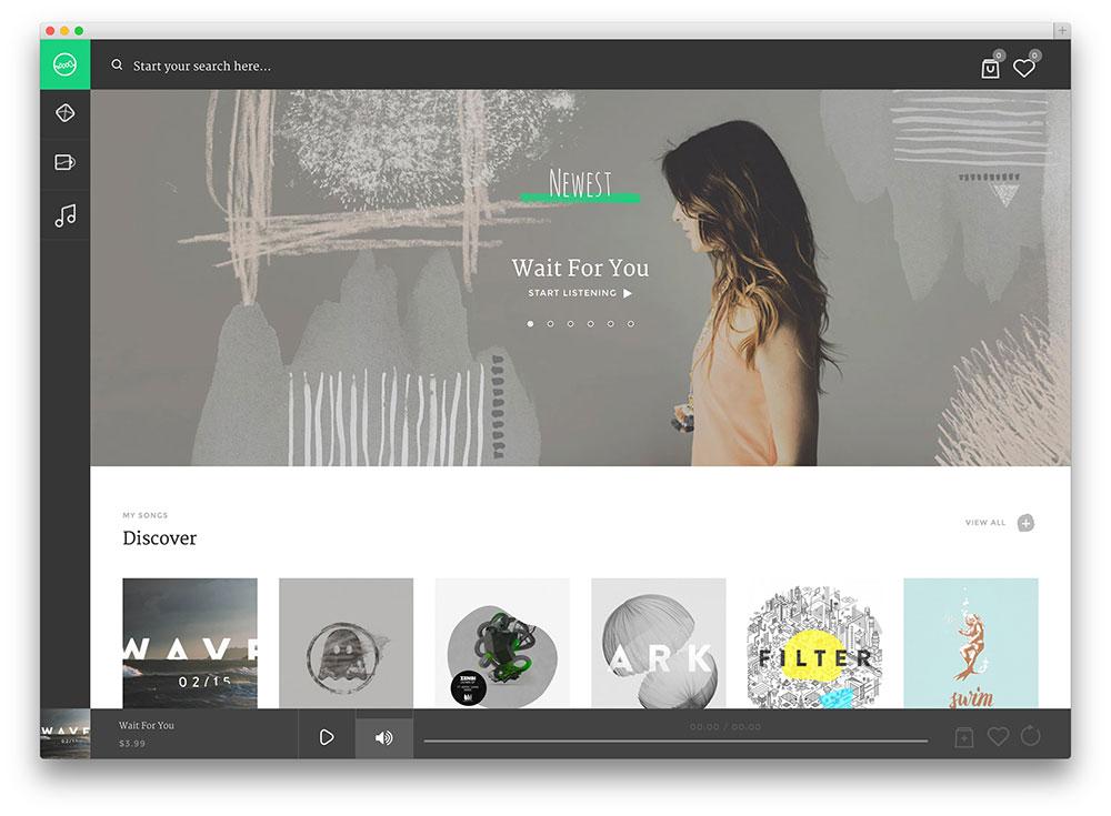 sura Como Spotify o WordPress tema