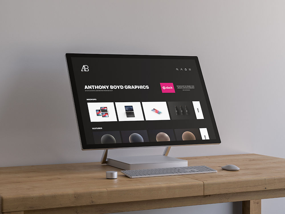 surface studio plus table mockup psd