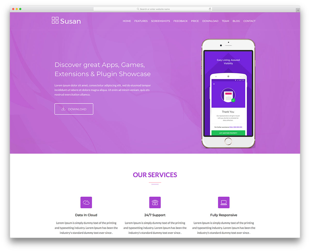 Susan - Free iOS & Android App Landing Website Template - Colorlib
