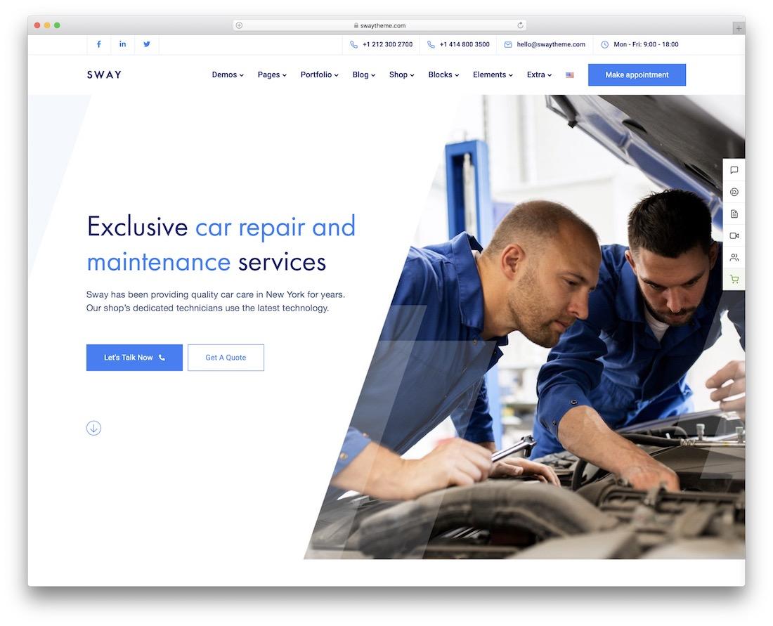 sway auto service wordpress theme
