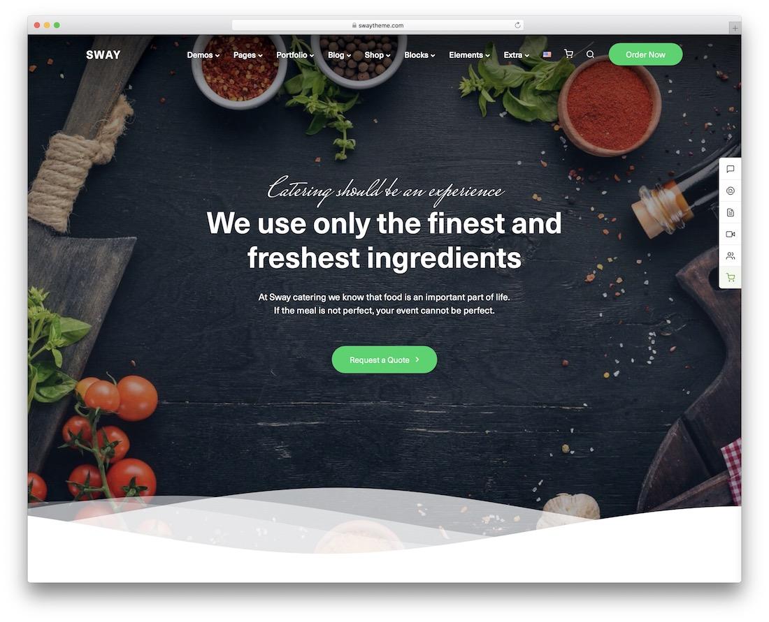 sway catering wordpress theme
