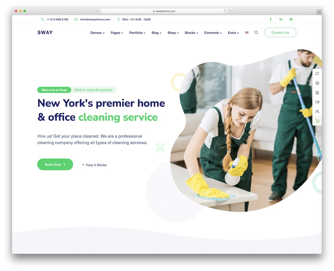 sway cleaning company theme