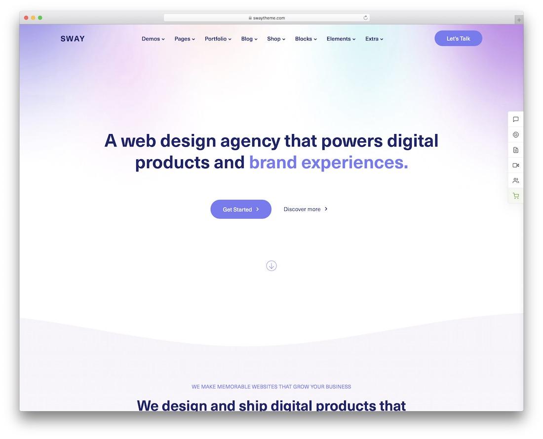 sway creative agency wordpress theme