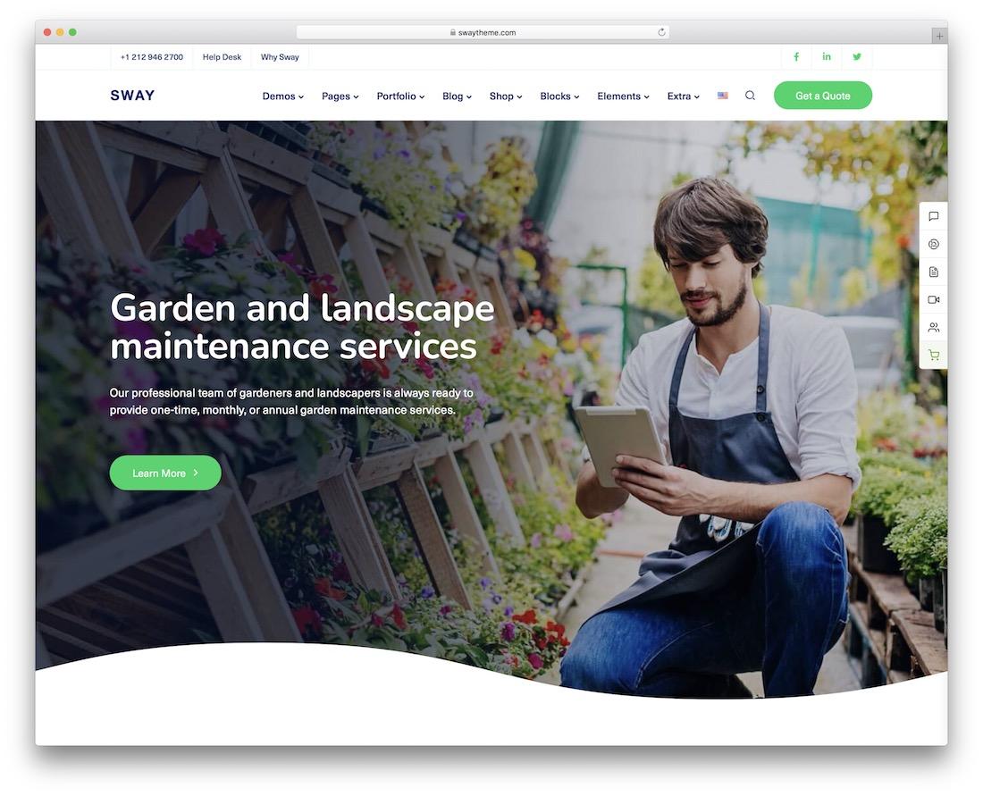 sway gardening landscaping wordpress theme