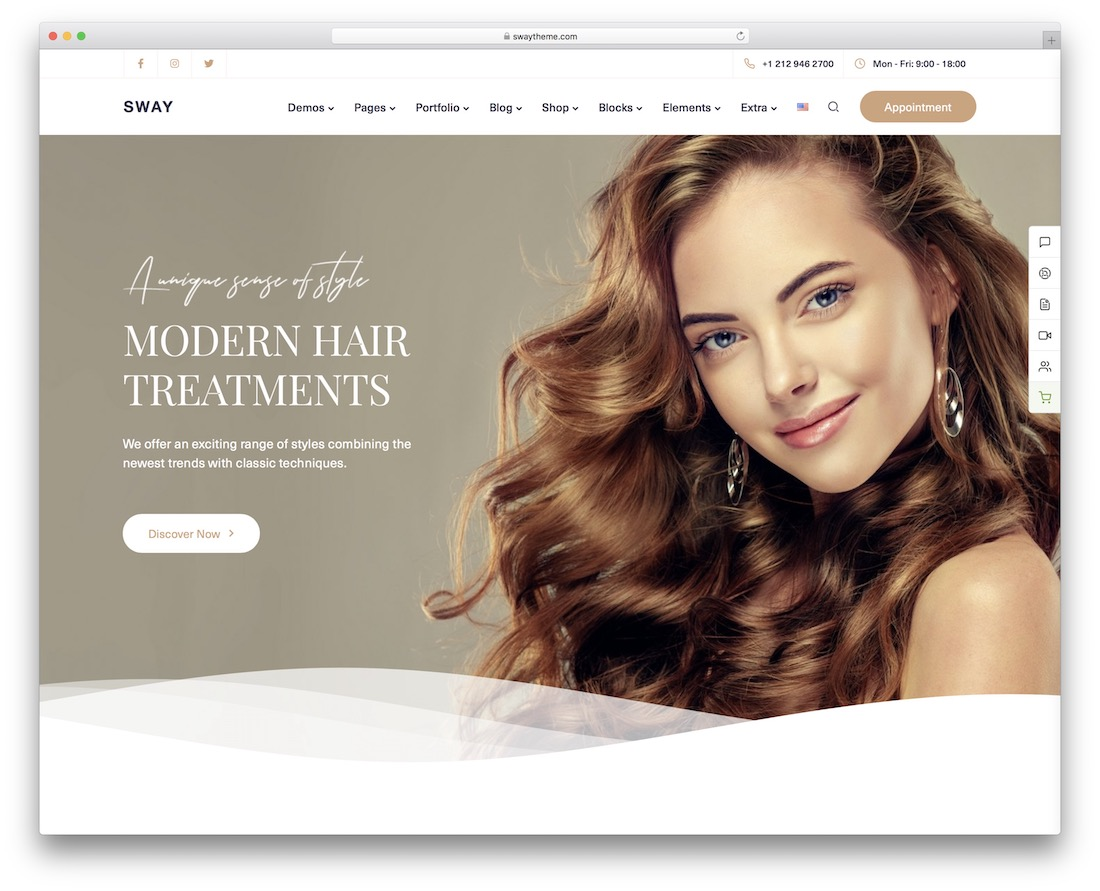 sway hair salon wordpress theme