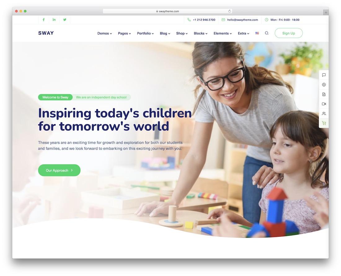 sway kindergarten wordpress theme