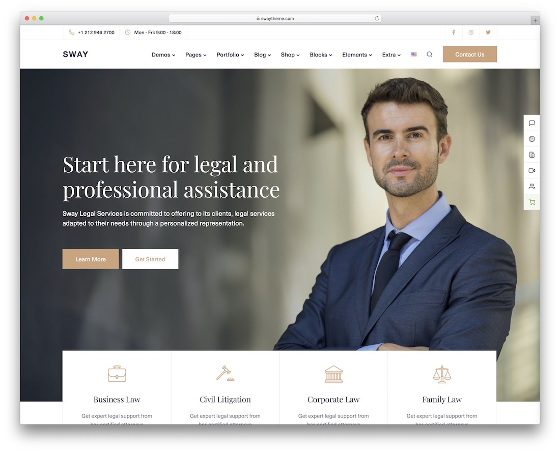sway lawyer wordpress theme