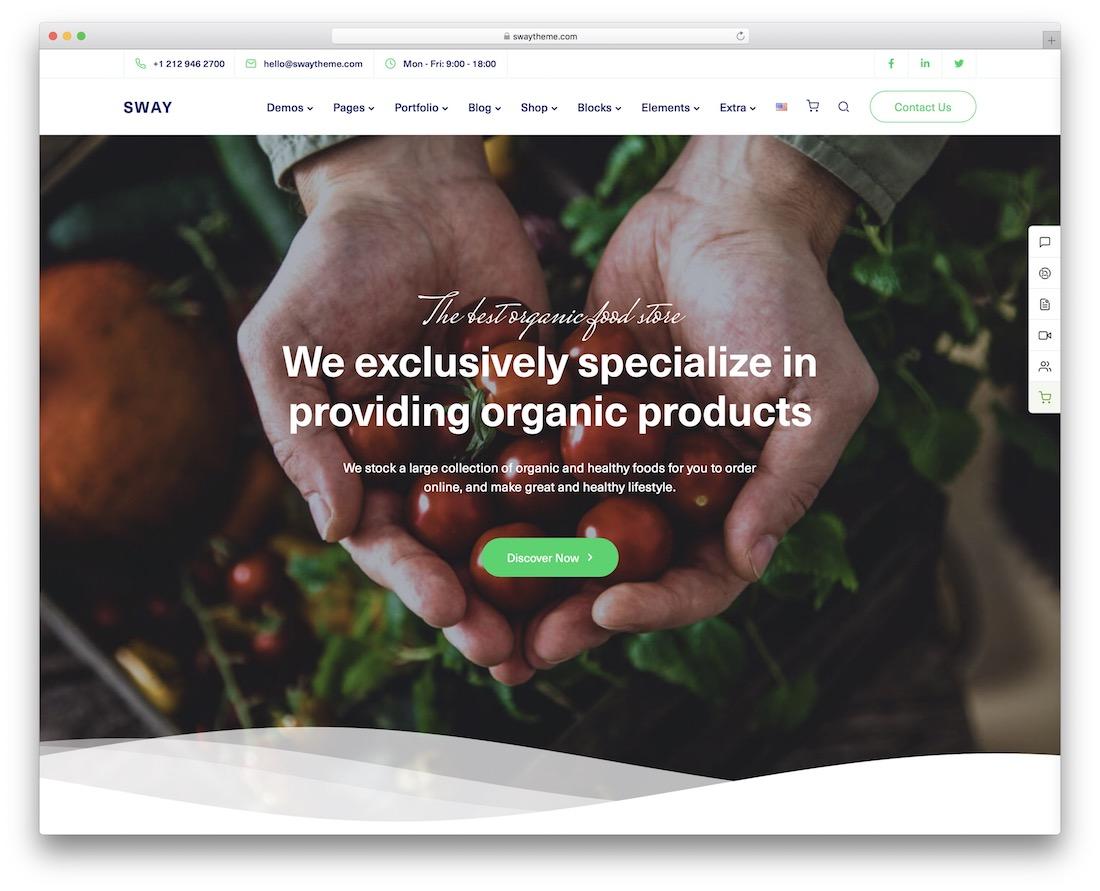 sway organic food wordpress theme
