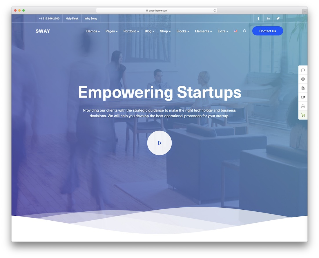 sway startup wordpress theme