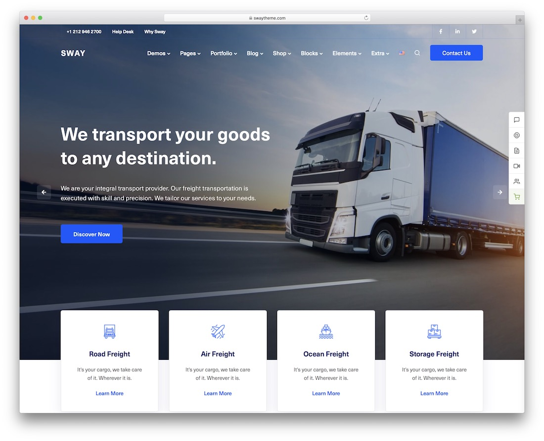 sway transportation logistics wordpress theme