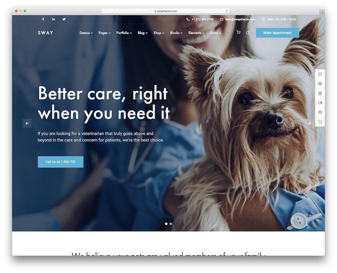 sway veterinary wordpress theme