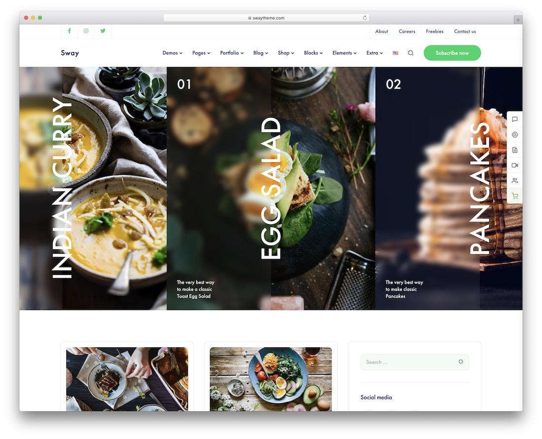 sway wordpress food blog theme