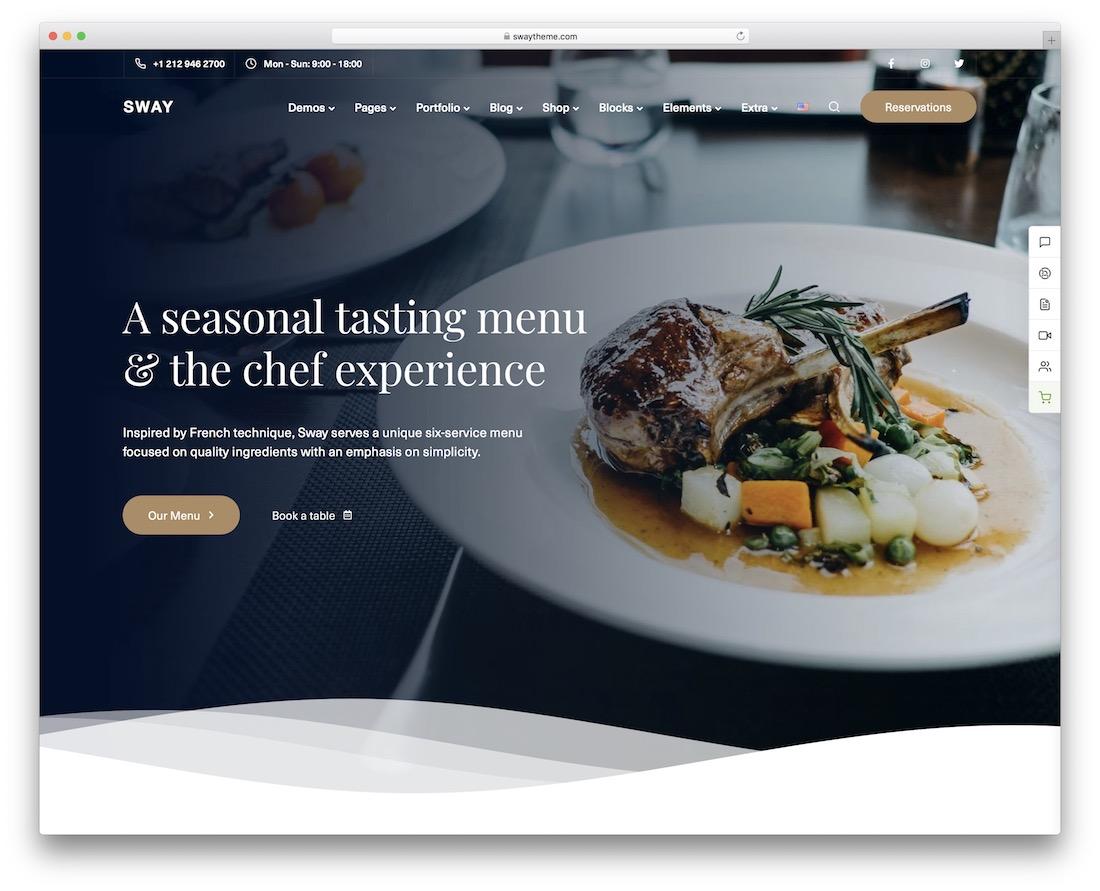sway wordpress restaurant theme