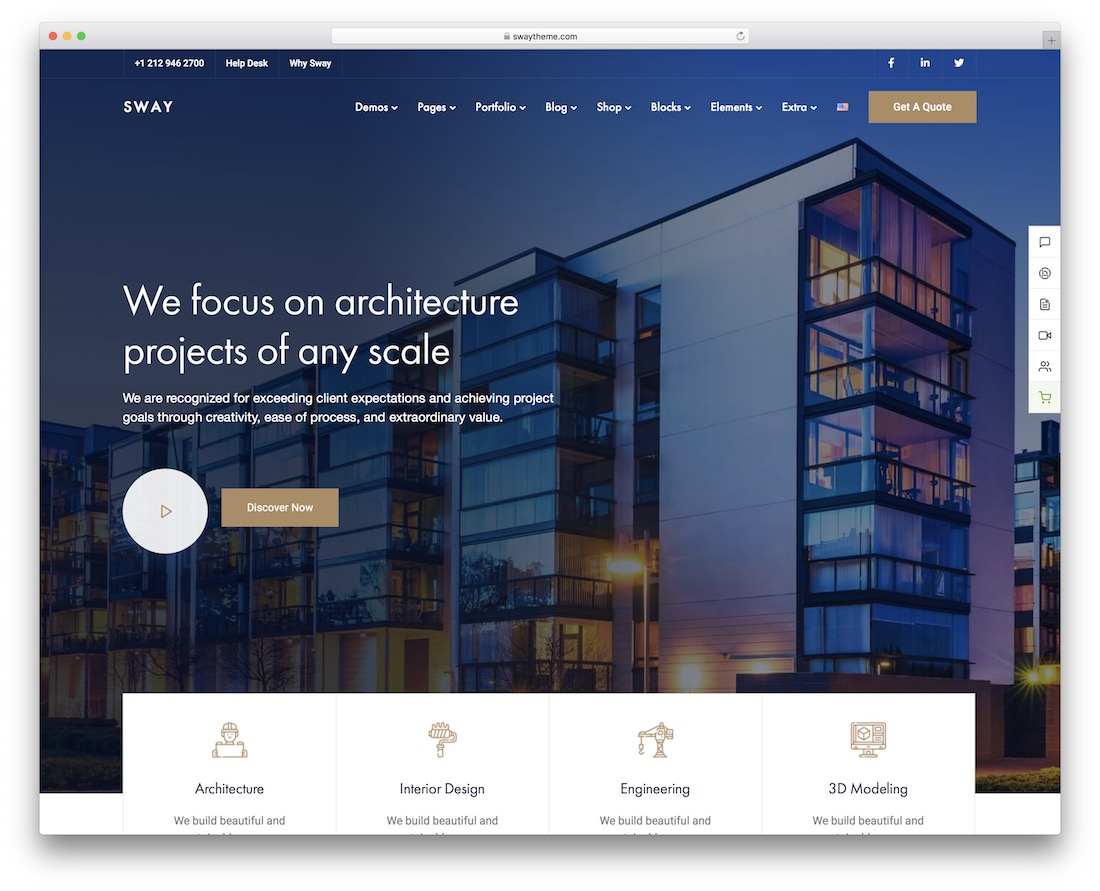 sway wordpress theme for architects