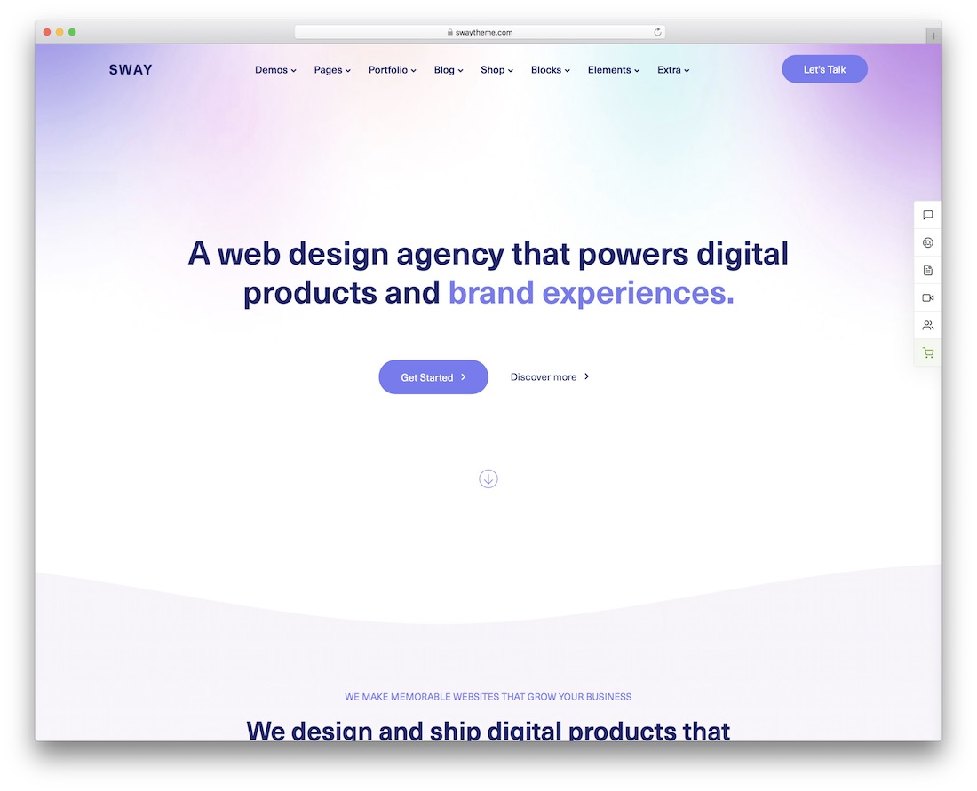 sway wordpress theme for designers