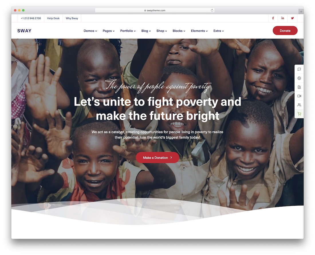 sway wordpress theme for non profit charity organizations