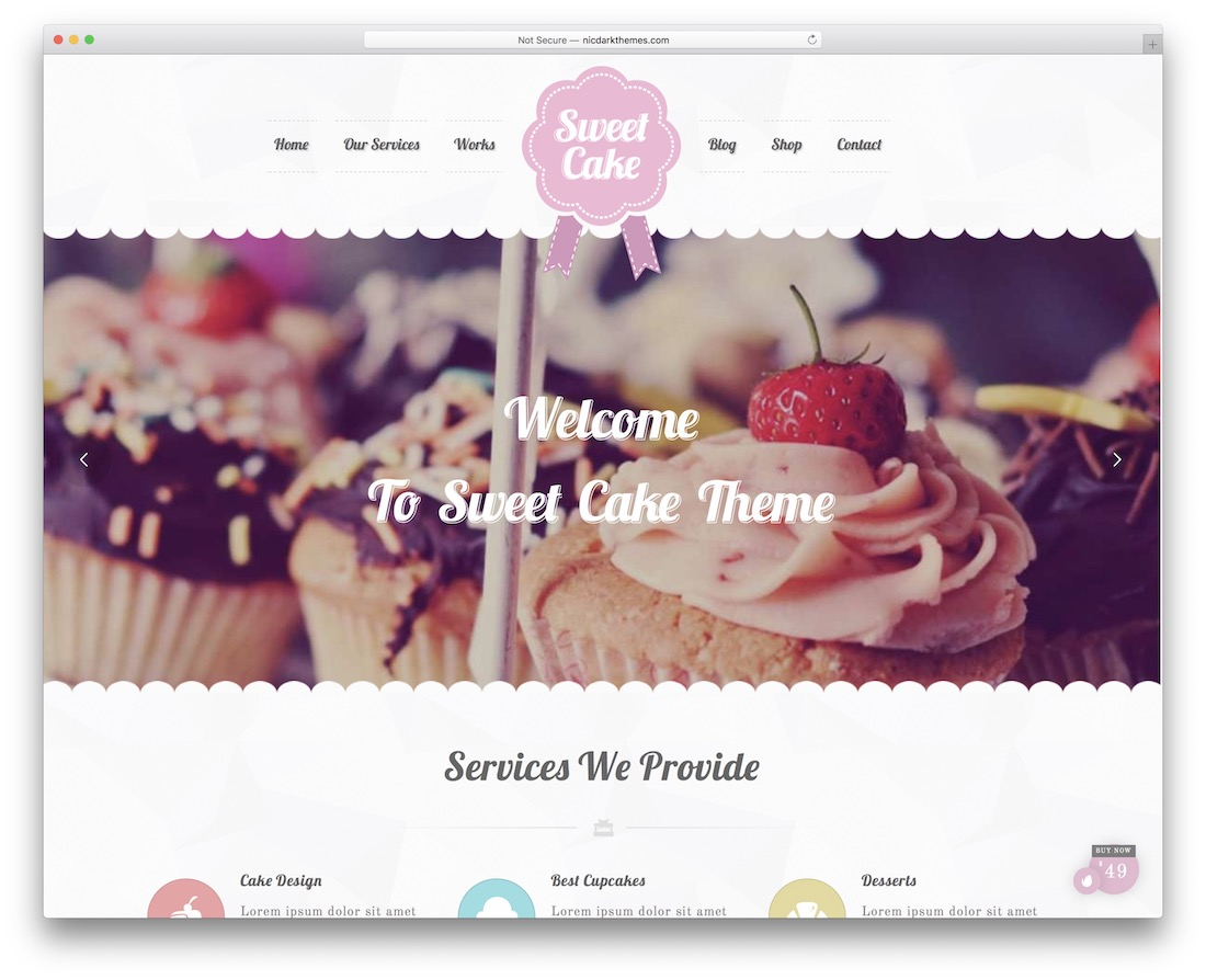 sweet cake cake shops wordpress theme
