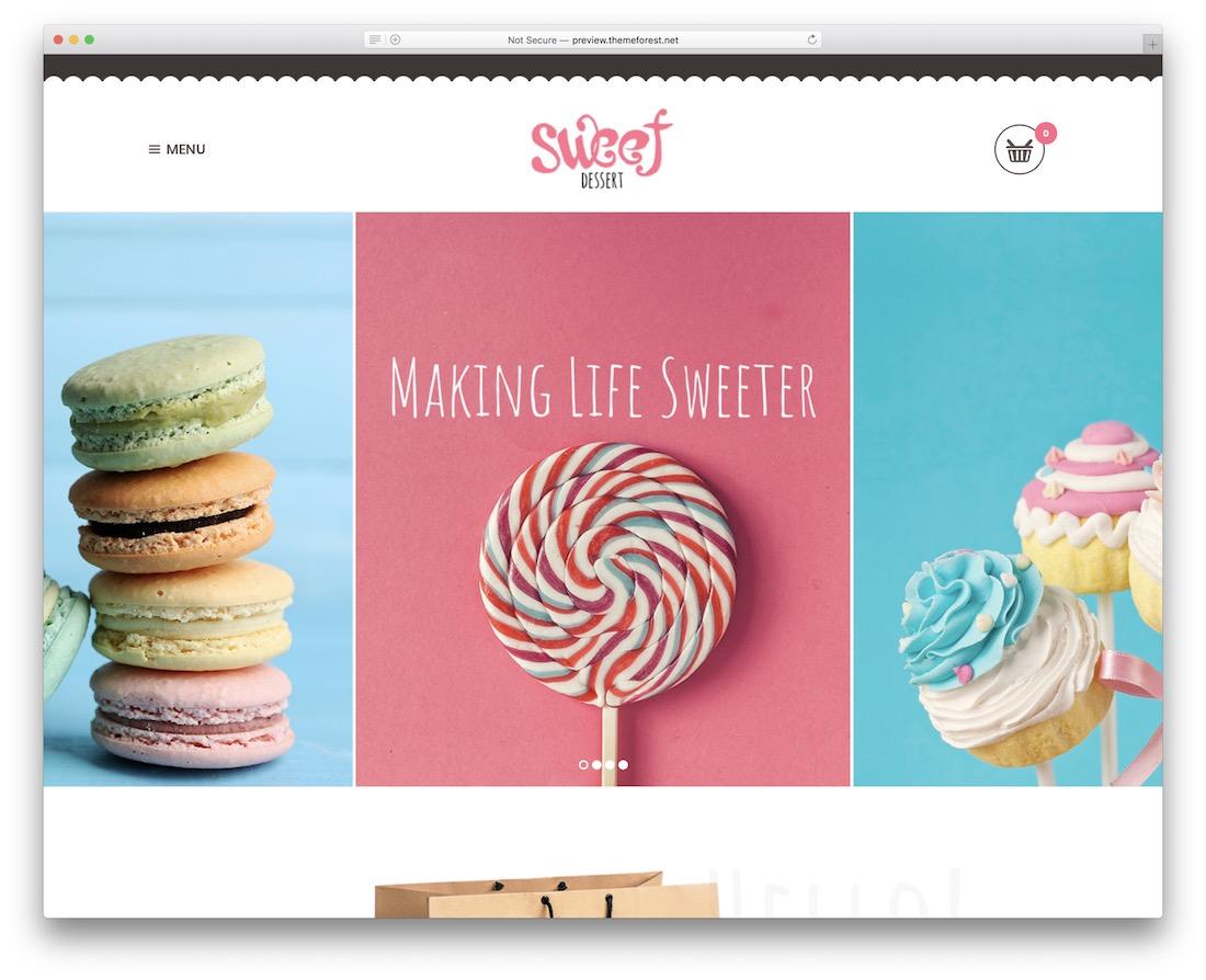 sweet dessert cake shops wordpress theme