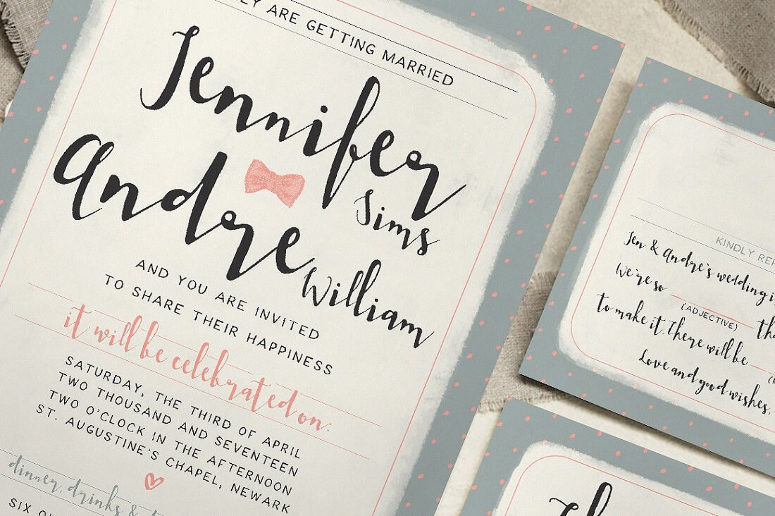sweet polka dots wedding invitation