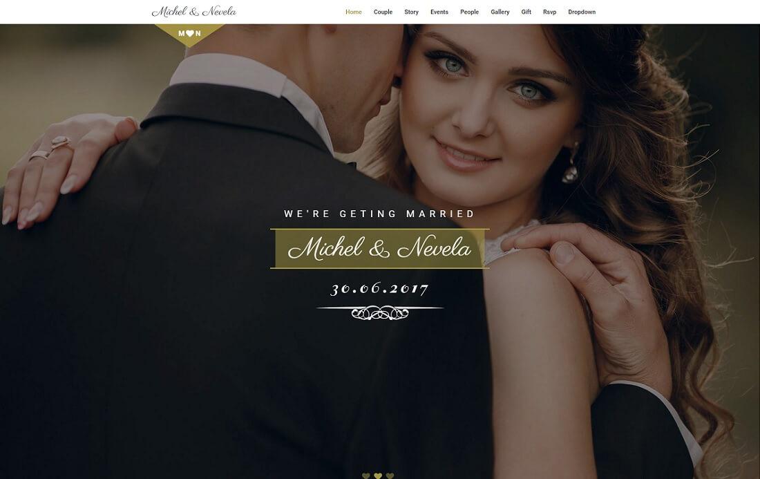 sweetheart HTML wedding website template