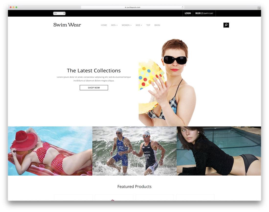 swim wear free bootstrap ecommerce website template