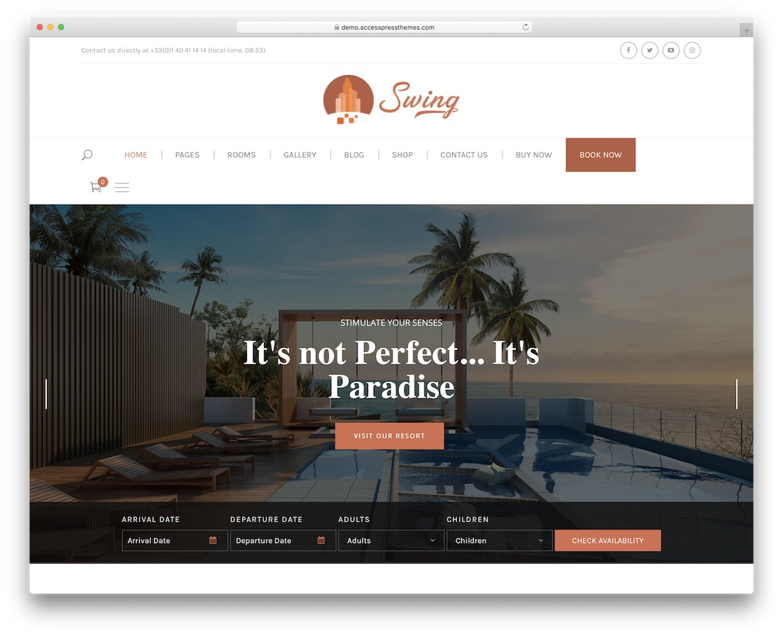 swing hotel wordpress theme incredible design