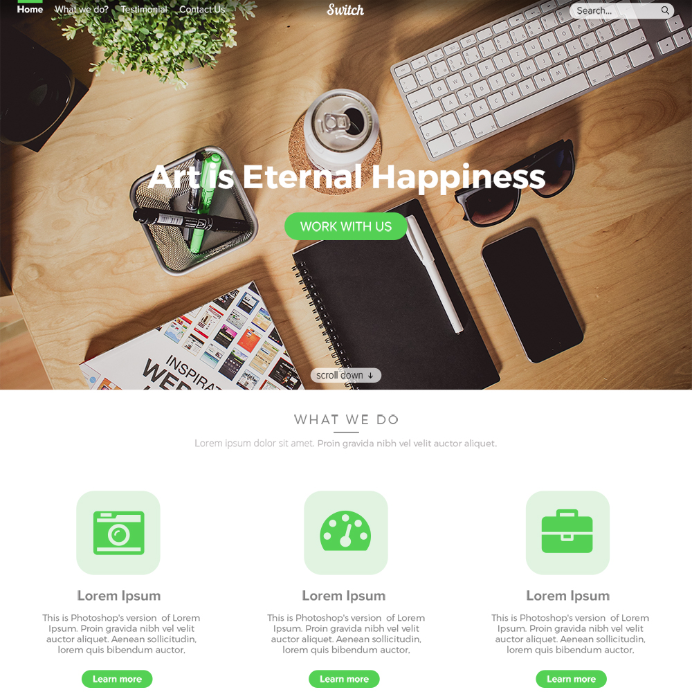 Switch BootstrapD Free PSD Template