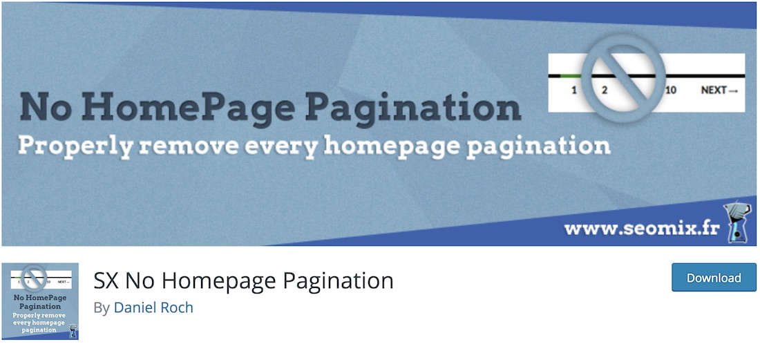 no homepage pagination wordpress plugin