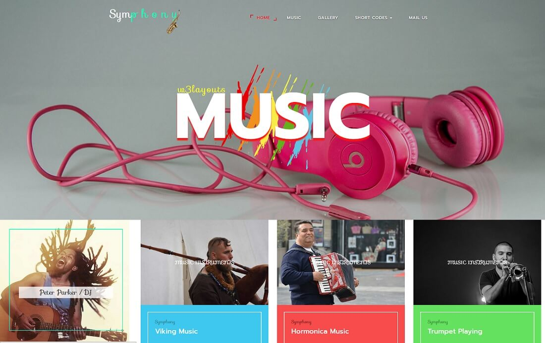 symphony free music website template
