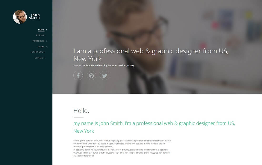 synopsis HTML resume cv website template