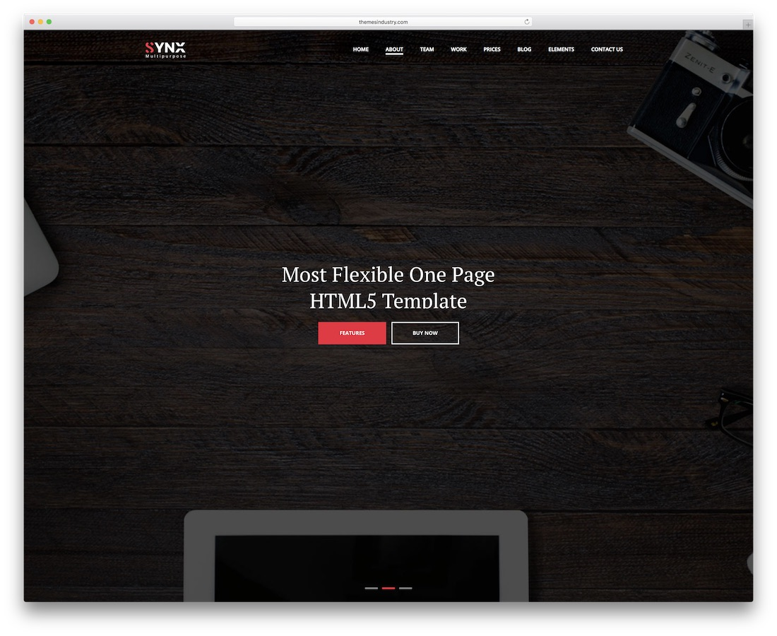 synx creative website template