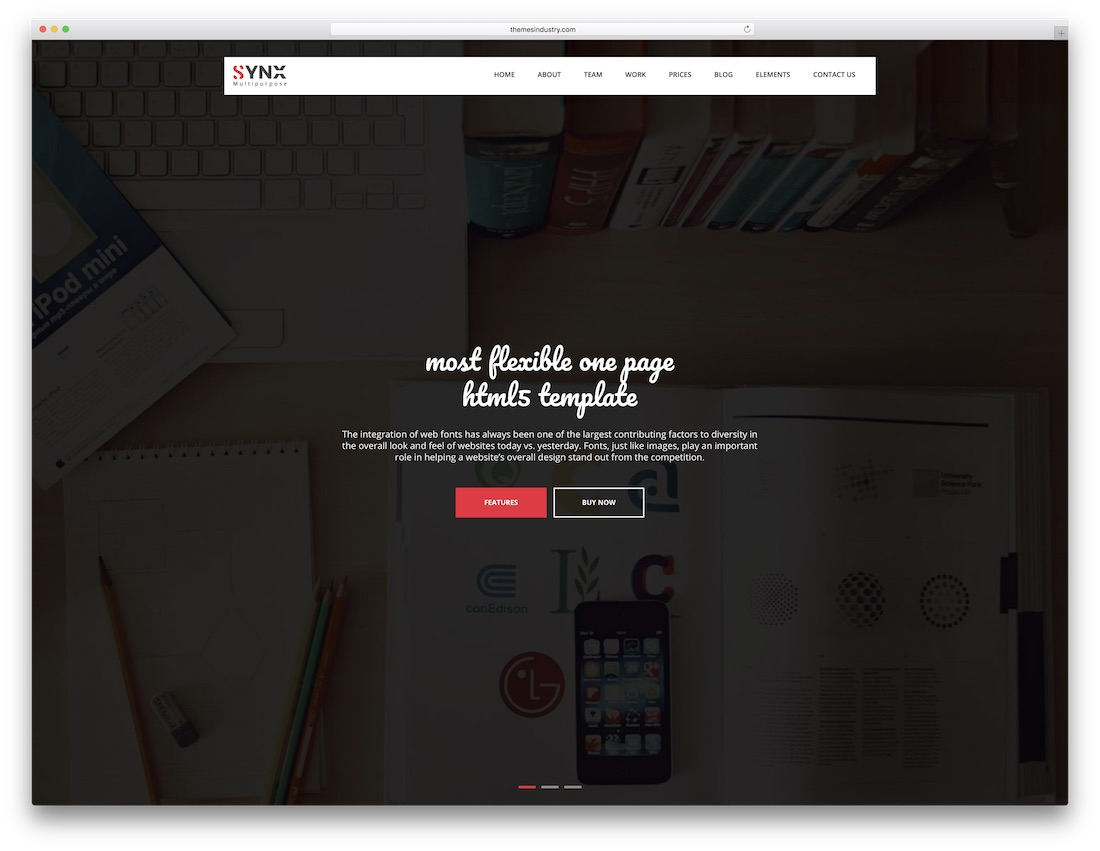 synx fullscreen website template