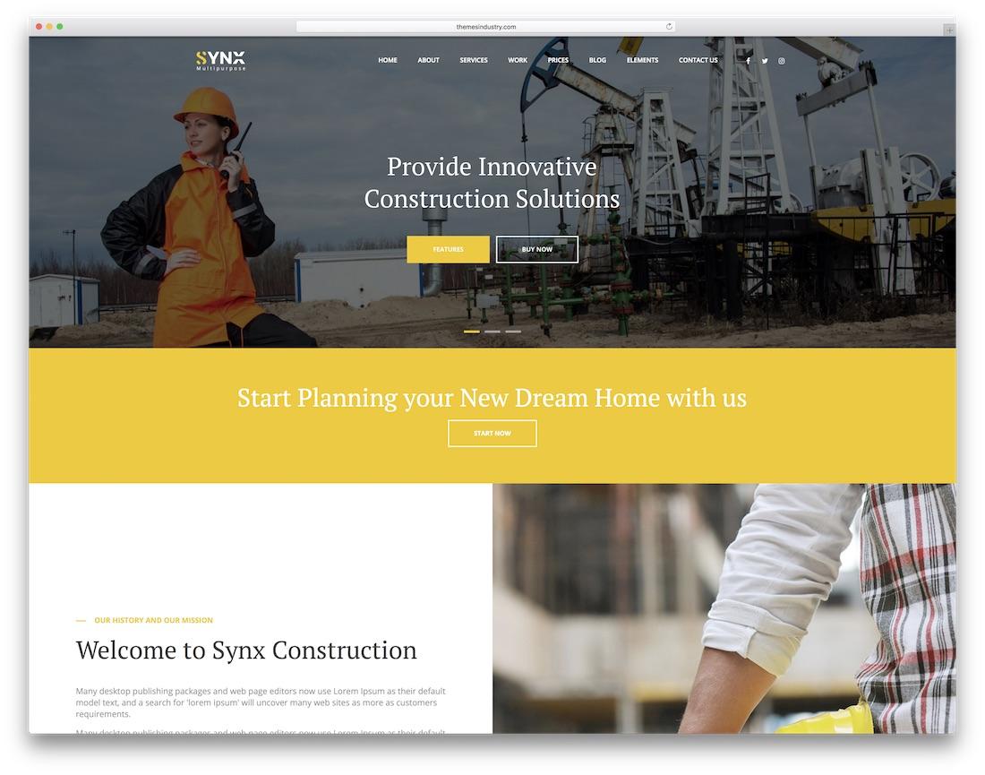 synx html construction company template