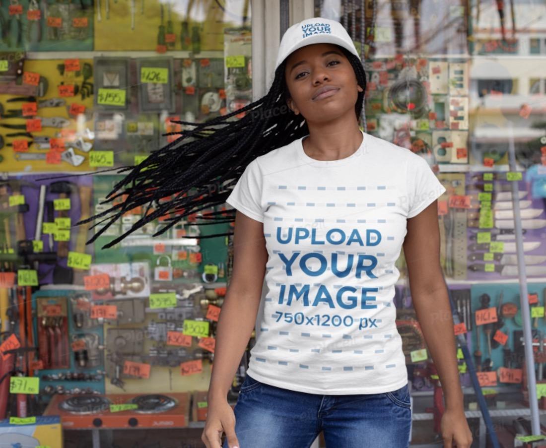 t-shirt and baseball cap mockup of a woman