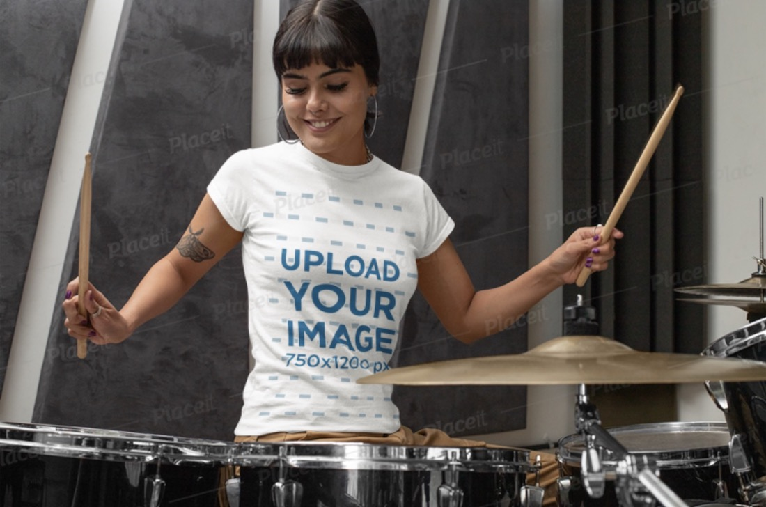 t-shirt mockup featuring a female drummer