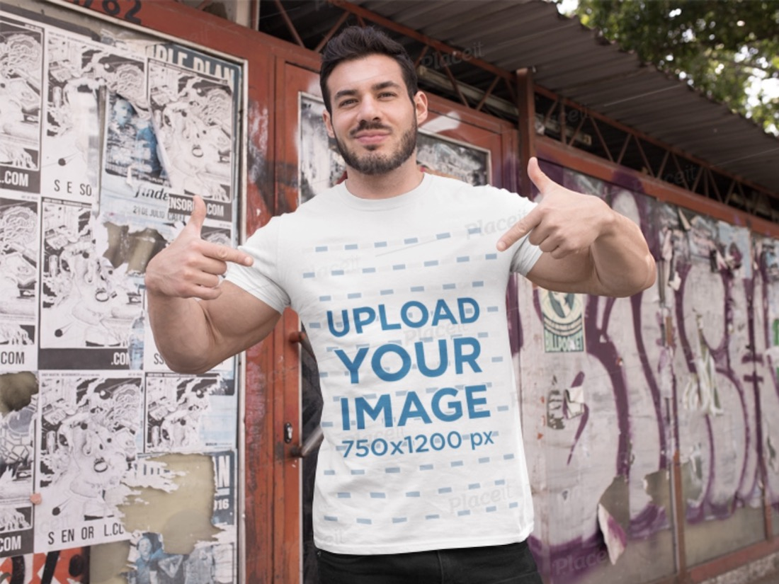 t-shirt mockup featuring a fitness man