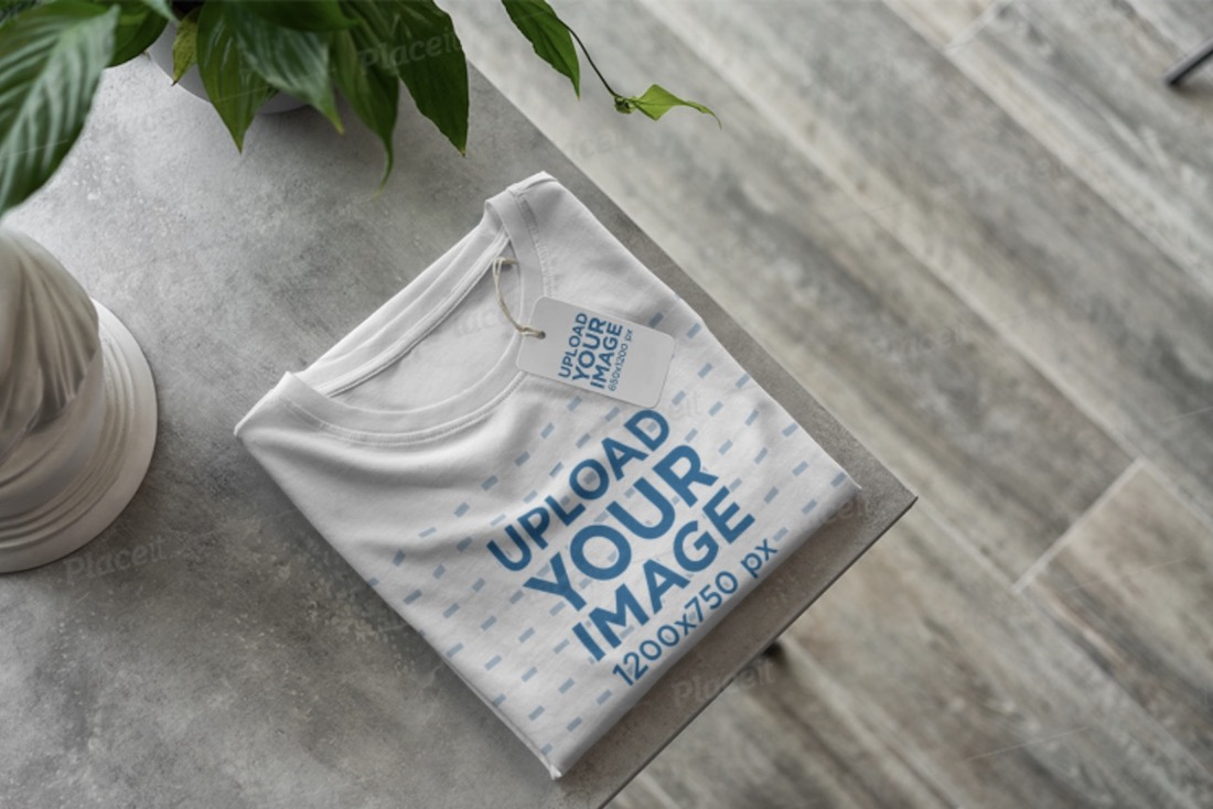 t-shirt with a brand tag mockup