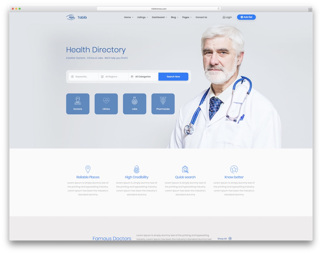 tabib doctor website template