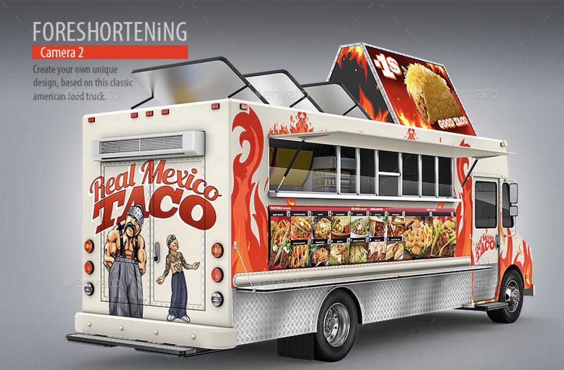 taco truck step van mockup