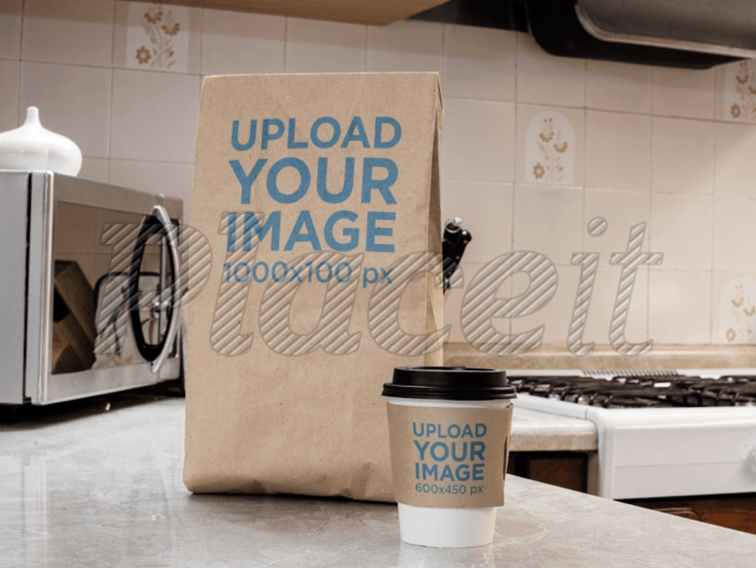 takeaway coffee cup and paper bag mockup