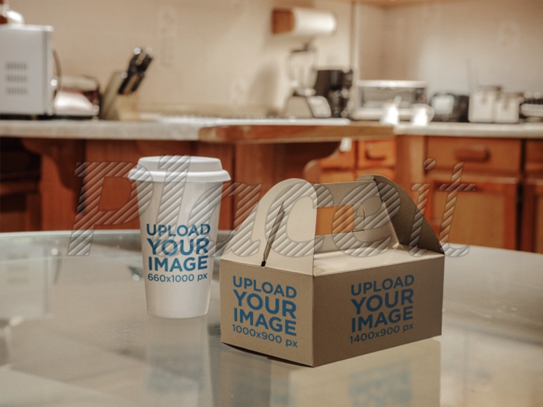 takeaway coffee cup and paper food box mockup