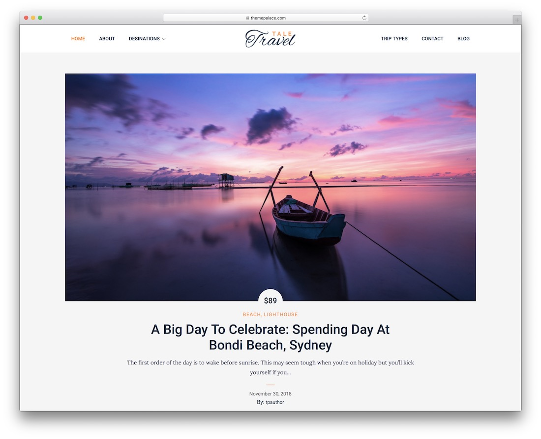 tale travel free wordpress theme