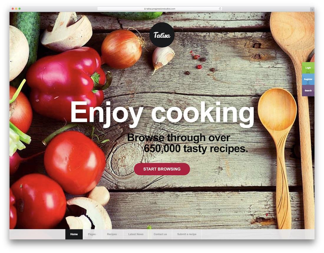 talisa food recipes wordpress theme