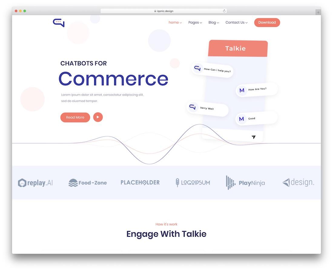 talkie interactive website template