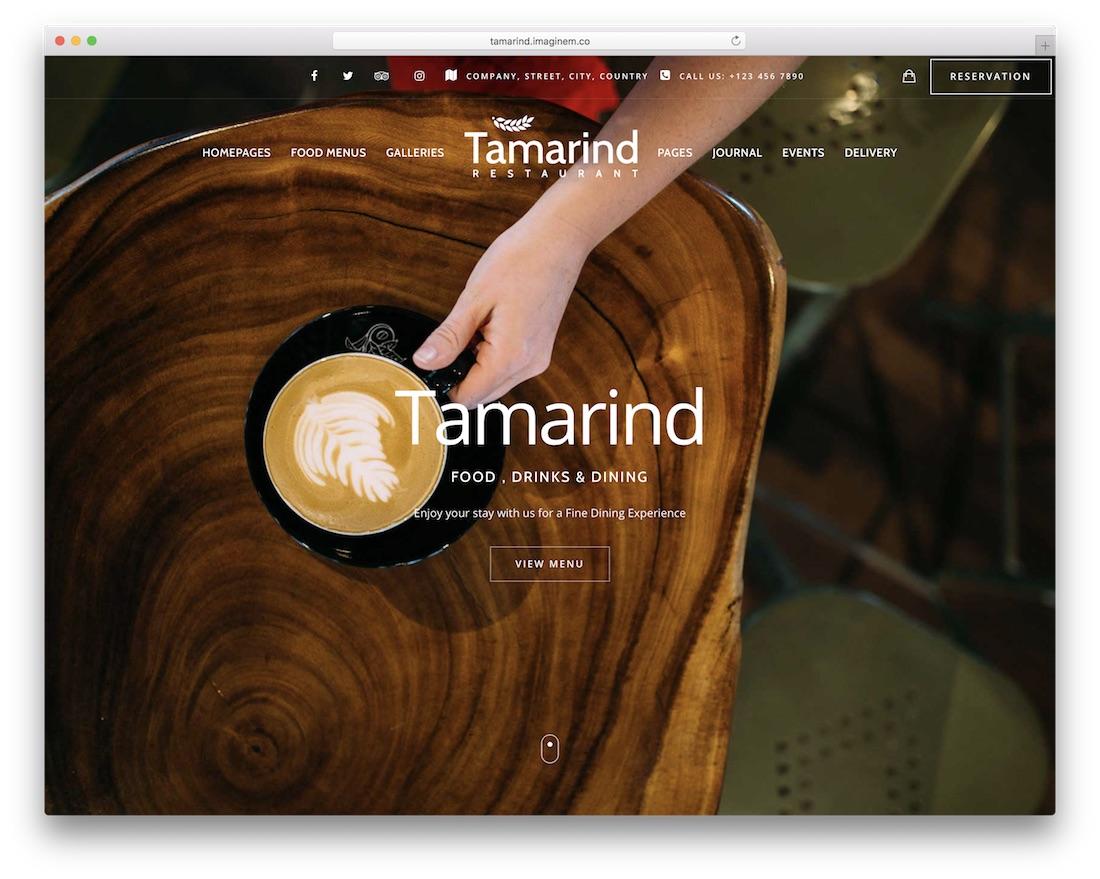 tamarind coffee shop wordpress theme