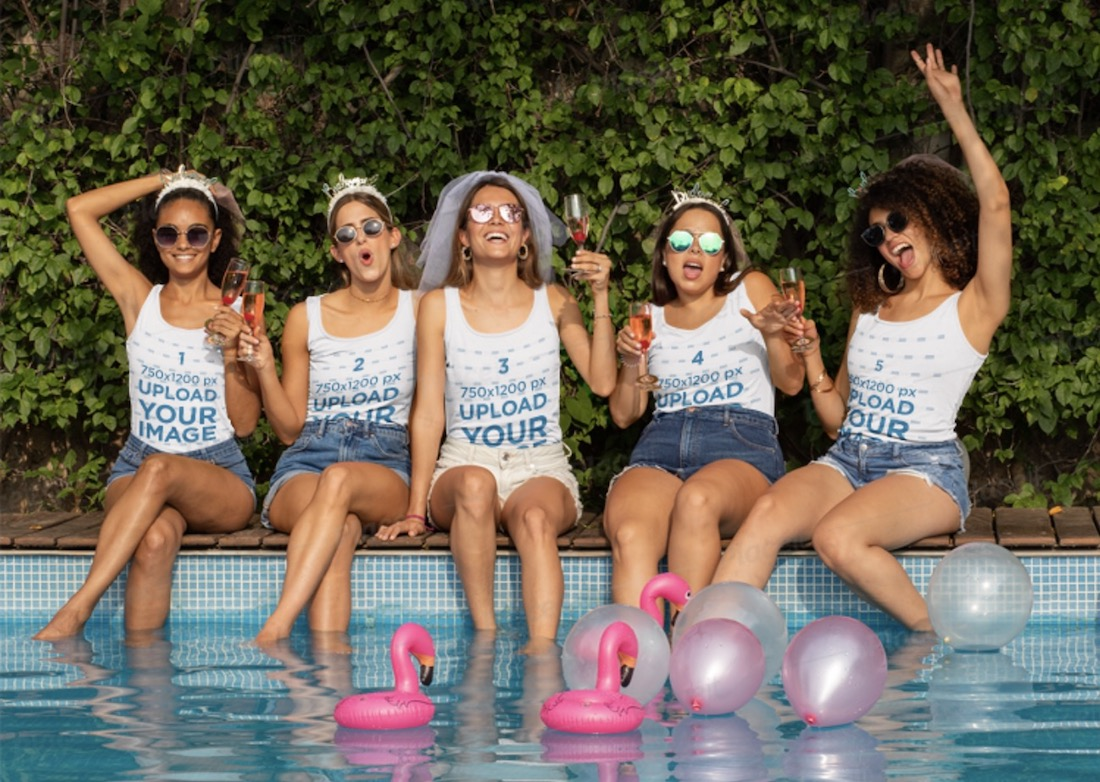 tank top mockup of a group of friends at a bachelorette party