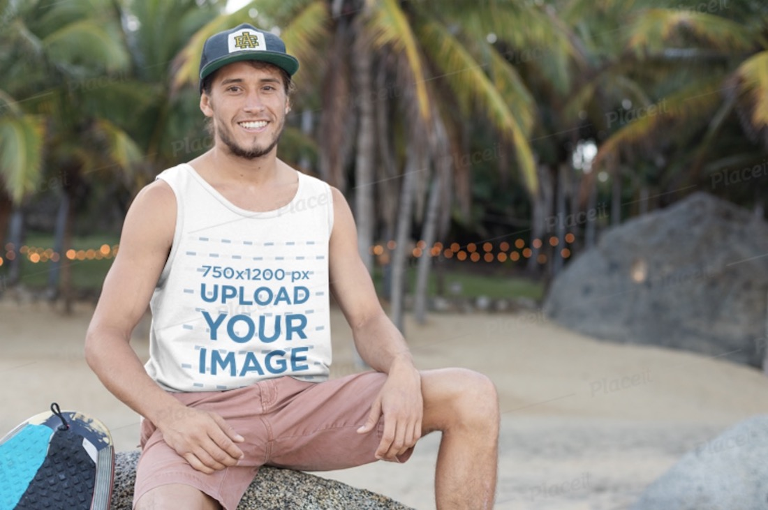 tank top mockup of a smiling surfer guy