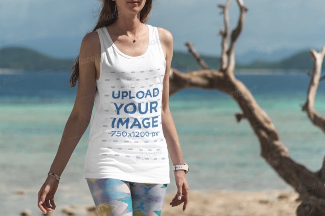 tank top mockup of a woman taking a stroll at the beach